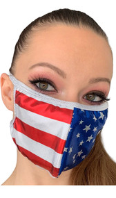 Metallic American flag print face mask with elastic straps that go around the back of the head to avoid discomfort to your ears. Straps do not tie, you just pull the mask down over your head for a snug fit. Double layered, the inside is cloth lined. Made in the USA.