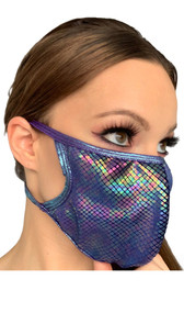 Iridescent face mask with mini diamond design and metallic blue straps. Elastic straps go around the back of the head to avoid discomfort to your ears. Straps do not tie, you just pull the mask down over your head for a snug fit. Double layered, the inside is cloth lined. Made in the USA.
