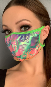 Iridescent face mask with snake print design and metallic green straps. Elastic straps go around the back of the head to avoid discomfort to your ears. Straps do not tie, you just pull the mask down over your head for a snug fit. Double layered, the inside is cloth lined. Made in the USA.