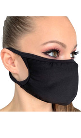 Stretch Lycra face mask with elastic straps that go around the back of the head to avoid discomfort to your ears. Straps do not tie, you just pull the mask down over your head for a snug fit. Double layered. Made in the USA.
