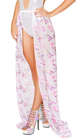 Sheer mesh long skirt with sequin shooting star pattern, banded elastic waist and open front.