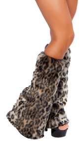 Leopard print furry legwarmers with elastic top. Pair. Faux fur. Inside is cloth lined, not fur lined.