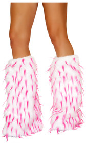Furry white legwarmers with pink splash and elastic top. Pair. Faux fur. Inside is cloth lined, not fur lined.