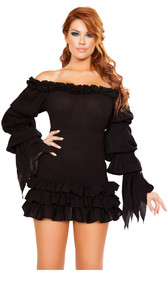 Ruffled off the shoulder mini dress with long, puffy sleeves, tattered wrists, and layered skirt.