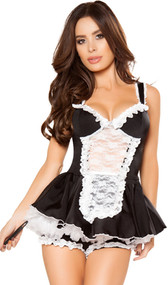 Maid costume includes sleeveless bustier top with wide shoulder straps, ruffle trim, and sheer lace front panel with attached mini apron. Matching shorts with ruffle trim and mini skirt with contrast white trim also included, petticoat sold separately. Feather duster completes the outfit. Four piece set.