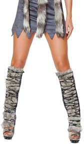 Faux fur and suede legwarmers with front lace up detail. Pair.