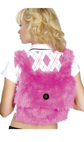 Faux fur mini backpack with fuzzy non-adjustable shoulder straps and large decorative button on top flap, does not actually fasten. Main compartment measures about 10 inches by 10 inches, no pockets or zippers. Inside is cloth lined.