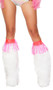 Clear pink vinyl fringe leg wraps with back side hook and loop closure. Wear over your favorite pair of legwarmers or by themselves. Two per package. Black light receptive.