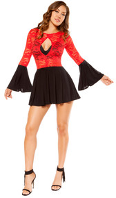 Long sleeve mini dress with keyhole front, flared bell sleeves, pleated skirt and sheer red lace top. Pull on style.