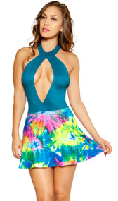 Sleeveless mini dress with large keyhole front, collar neckline with rear clasp closure, faux suede top with low cut back, and flared skirt with tie dye pattern.