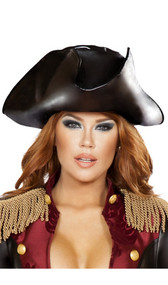 Faux leather pirate hat. Non-adjustable, slightly padded soft material.