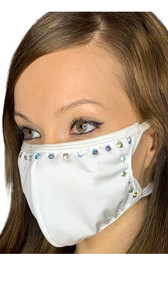 Studded rhinestone face mask with elastic straps that go around the back of the head to avoid discomfort to your ears. Straps do not tie, you just pull the mask down over your head for a snug fit. Double layered. Made in the USA.