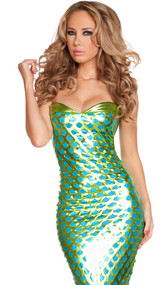 Sexy Sea Creature Mermaid deluxe costume includes strapless metallic mermaid dress with scale pattern, flared fin tail bottom and lace up back. One piece.