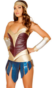 American Heroine costume includes strapless metallic corset with lace up back, shorts, belt with asymmetrical panels and back closure, and headband. Four piece set.