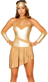 Golden Goddess Warrior costume includes strapless metallic romper with attached asymmetrical faux suede fringe skirt, holster belt with hook and loop closure, and headband. Three piece set.