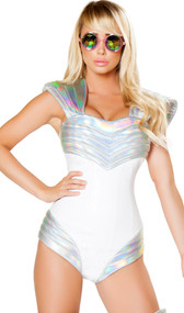 Space Soldier costume includes sleeveless romper with metallic trim, back zipper closure, and shoulder and hip pads. One piece set.