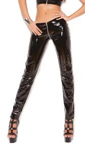 Zip front vinyl pants.