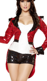 Radiant Ringmaster costume includes metallic sequin long sleeve jacket with coattails and shoulder epaulettes, sequin strapless corset with lace up back, sequin shorts, and whip. Four piece set.