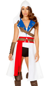 Assassin's Protector costume includes sleeveless asymmetrical overcoat with hood and attached sash, holster with buckle, arm band, shorts and top. Five piece set.