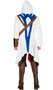 Assassin's Protector costume includes long sleeve asymmetrical overcoat with hood and attached sash, holster, arm band. Three piece set.