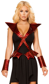 Dragon Slayer costume includes sleeveless high-low asymmetrical dress with metallic dragon scale criss cross detail and attached wings. One piece set.