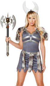Sexy Viking costume includes faux suede dress with cut off zig zig hemline, metallic belt with faux fur panels, matching holster top with faux fur shoulder pads, and horn headband. Four piece set.