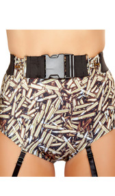 Stretch belt with fastener buckle and hook detail.