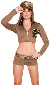 Sexy Soldier Babe costume includes long sleeve crop top with zipper front, collar, camouflage front pocket and shoulder patch. Shorts, belt and hat also included. Four piece set.