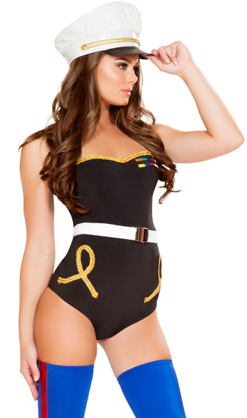 Naughty Marine sailor costume includes strapless romper with gold trim and ranking patch detail. Belt also included. Two piece set.