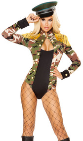 Army Girl costume includes long sleeve romper with faux camouflage jacket and top look. Jacket features gold button trim, collar, cuffs with button detail, and gold fringe shoulder epaulettes. One piece set.