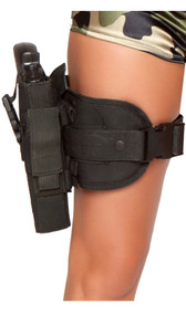 Gun leg holster. Adjustable with clasp closure, pouch that holds the gun is detachable and can be reversed to wear on the opposite leg. Toy gun included.