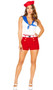 Ahoy Sailor costume includes sleeveless top with attached bib with faux tie front, embroidered anchor on cape, and woven gold chain with anchor charm. Shorts with faux gold button front, belt and hat also included. Four piece set.