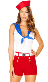 Ahoy Sailor costume includes sleeveless top with attached bib with faux tie front, embroidered sailor on cape, and woven gold chain with anchor charm. Shorts with faux gold button front, belt and hat also included. Four piece set.