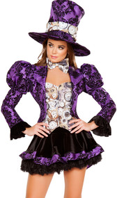 Tea Party Vixen deluxe costume includes long sleeve satin jacket with flared wrists, puff sleeves, coat tails, and attached pocket watch print faux vest top with zipper front. Matching skirt, bow tie and top hat also included. Four piece set.