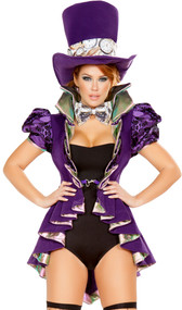 Mad as a Hatter deluxe costume includes short sleeve jacket with puffed embossed sleeves, pleated detail, satin trim, high collar, coat tails, and front hook closure. Romper, pocket watch print bow tie and matching top hat also included. Four piece set.