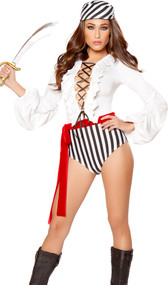 Pirate Scoundrel costume includes romper with lace up front, ruffle trim, puff long sleeves, striped bottom and attached red wrap belt. Striped head scarf and short pirate sword also included. Three piece set.