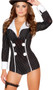 Mischievous Mobster Babe costume includes long sleeve pinstripe romper with contrast wrist cuffs, plunging neckline with collar, and oversized decorative buttons. One piece set.
