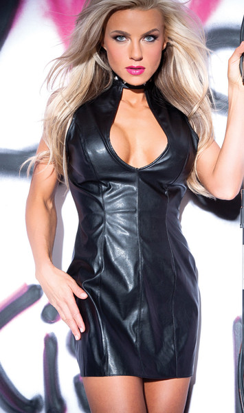 Faux leather studded dress with a peek-a-boo neck, snap neck closure and back zipper opening.