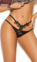 Double strap lace panty with embroidered floral applique and cheeky cut back.
