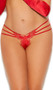 Stretch Lycra triple strap panty with butterfly embroidered applique and open cage style back.