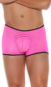 Men's striped sheer mesh boxer brief with contrast trim.