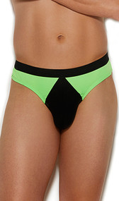 Men's stretch Lycra thong with contrast trim and cheeky cut back.