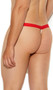 Men's G-string with elastic waist, striped sheer mesh pouch, and contrast trim.