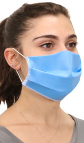 Three ply nonwoven Polypropylene face mask with elastic straps that go behind the ears.