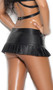 Leather pleated mini skirt with studded waist, zipper front with mini slit, and buckle detail.