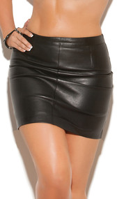 Leather pencil mini skirt with back zipper and snap closure.