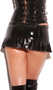 Vinyl pleated mini skirt with studded trim (front side only), side zipper with mini slit, and buckle detail.