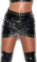 Vinyl mini skirt with studded nail head trim, faux wrap design and back zipper closure.