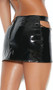 Vinyl mini skirt with cut out front, chain accents, and back zipper closure.