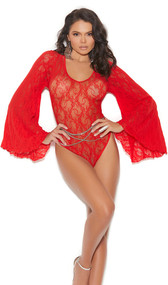 Long sleeve sheer lace teddy with deep v neckline, flared bell sleeves, large keyhole back with clasp neck closure, and thong cut.